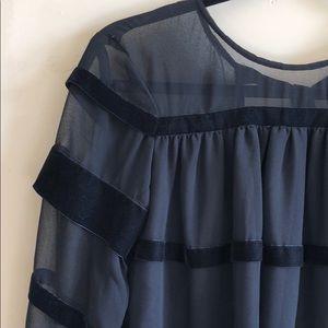🎀 ASOS A-line Chiffon and Velvet Ribbon Dress